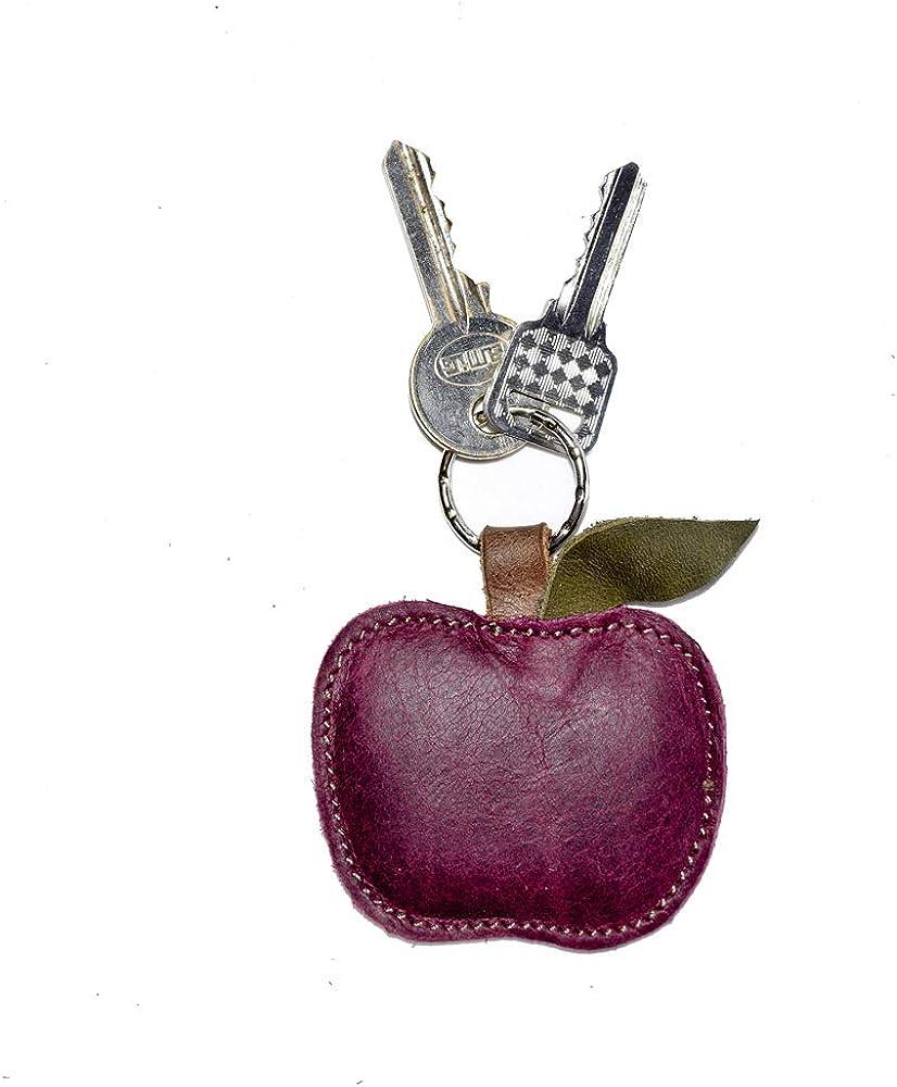 Hide & Drink, Leather Apple Keychain / Ring / Charm / Key Holder / Fruit / Cute, Handmade :: Sangria