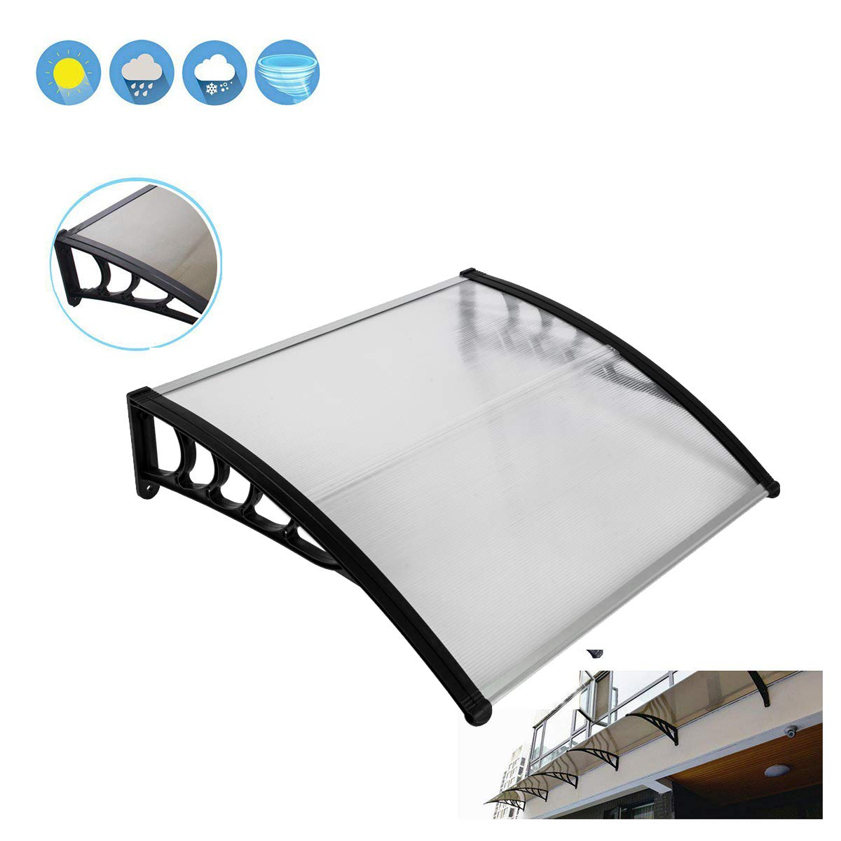 Wegi King Canopy Awning 39×39 Garage Roof,Clear Overhead Window Cover Polycarbonate UV,Rain Snow Protection Hollow Sheet for Patio Lawn Garden House Greenhouse Front Door Outdoor Black Holder