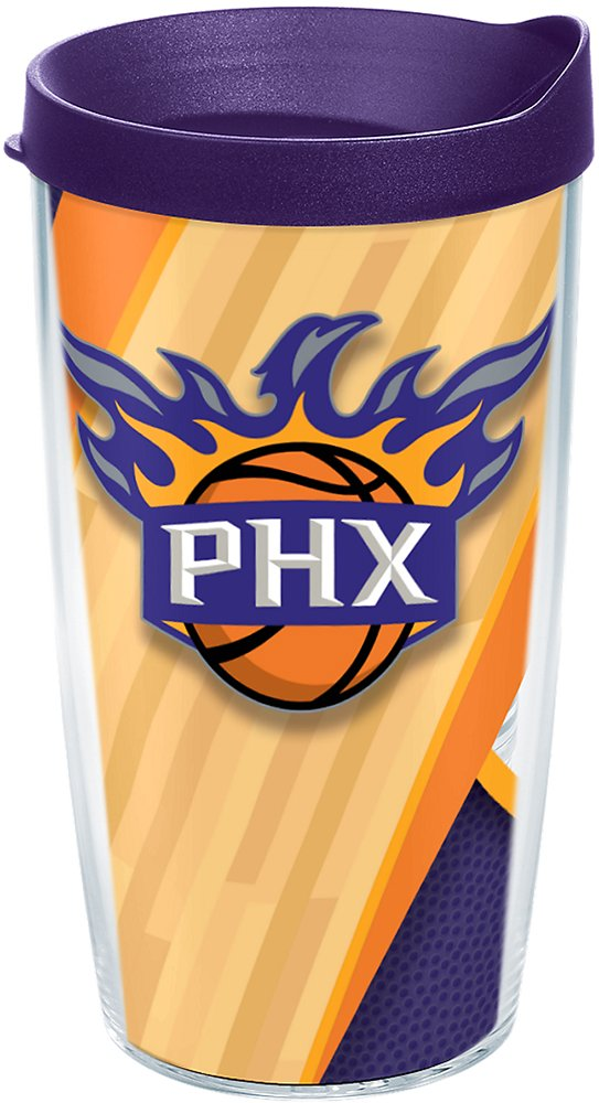 Tervis 1200847 Nba Phoenix Suns Court Insulated Tumbler with Wrap and Royal Purple Lid, 16oz, Clear