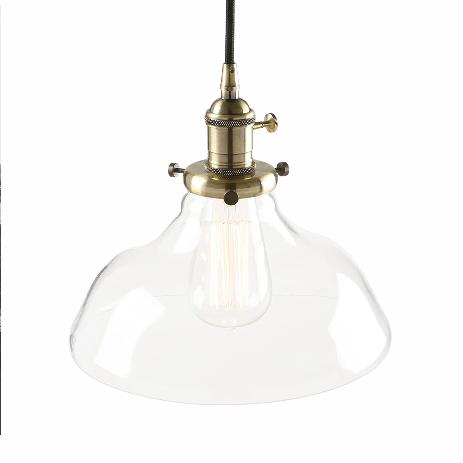 Pathson 9.8 Inch Industrial Vintage Modern Dome Clear Glass Shade Loft Bar Kitchen Island Chandelier Edison Hanging Pendant Ceiling Light Lamp Fixture (Antique)
