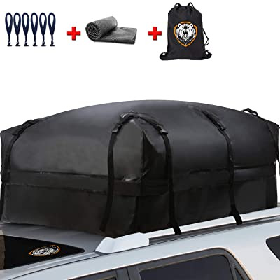 Waterproof Rooftop Cargo Carrier - Heavy Duty Roof Top Luggage Storage Bag with Anti-slip Mat + 10 Reinforced Straps + 6 Door Hooks - Perfect for Car, Truck, SUV, Van With/Without Rack - 19 Cubic Feet: Automotive [5Bkhe1009255]