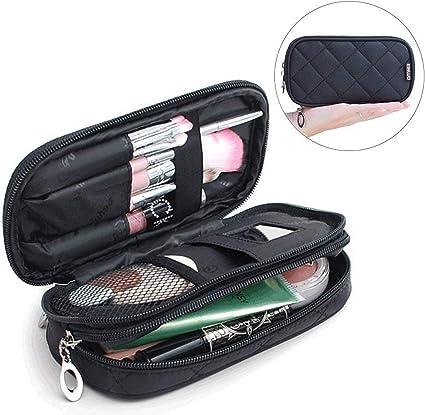 Mlmsy Estuche para maquillaje, profesional, incluye espejo, para mujer, organizador de viaje con 2 compartimentos, para guardar cosméticos, brochas, etc., multiusos, color negro: Amazon.es: Belleza