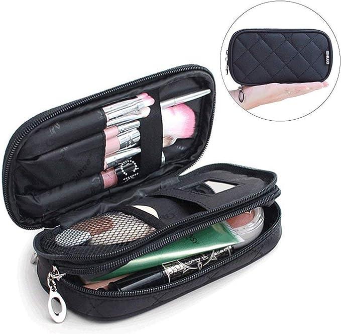 Mlmsy - Estuche para maquillaje, profesional, incluye espejo, para mujer, organizador de viaje con 2 compartimentos, para guardar cosméticos, brochas, etc., multiusos, color negro: Amazon.es: Belleza