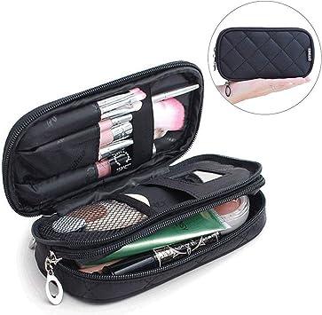 Trousse A Maquillage Mlmsy Professionnelle Ou De Voyage Pour Femme Noire 2 Compartiments Avec Miroir Amazon Fr Beaute Et Parfum