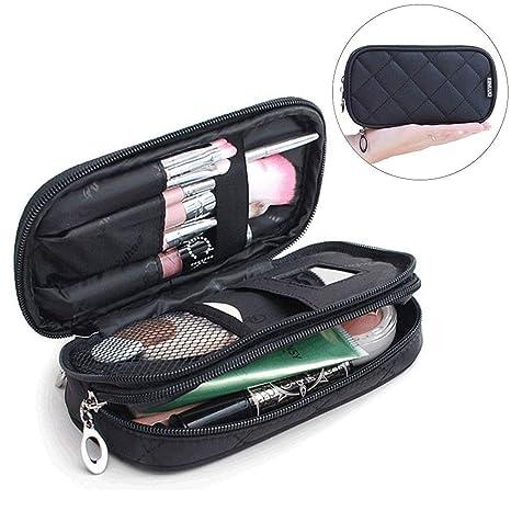 Mlmsy Estuche para maquillaje, profesional, incluye espejo, para mujer, organizador de viaje con 2 compartimentos, para guardar cosméticos, brochas, ...