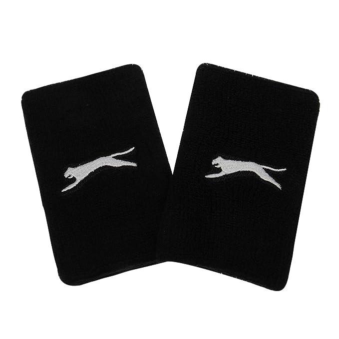 28543d2546 Slazenger Unisex 2 Pack Double Wristbands Black One Size: Amazon.co ...