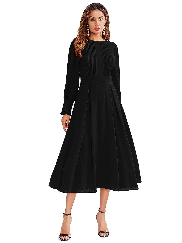 Black Milumia Women's Elegant Frilled Long Sleeve Pleated Fit & Flare Dress