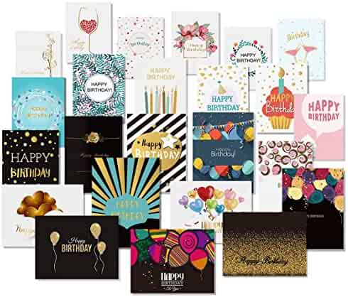 Happy Birthday Cards with Gold Embellishments Design and 26 Envelopes - Unomor 24 Birthday Greeting Cards Assorted- New Upgrade