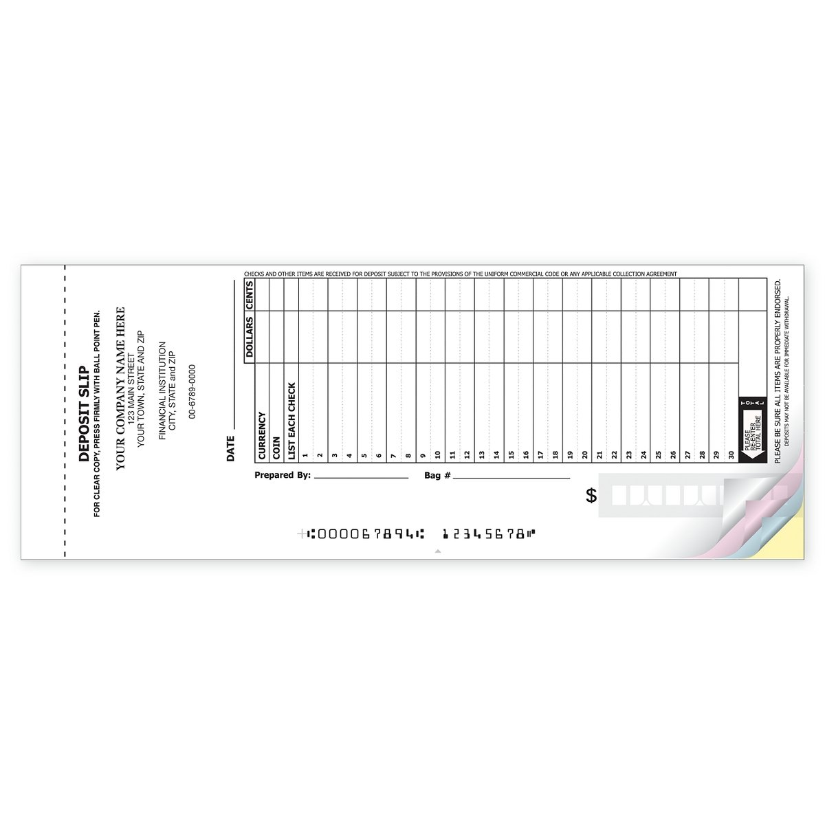 30-Line Booked Deposit Slip Books for Business (2400 qty, 2-part Duplicate) - Custom
