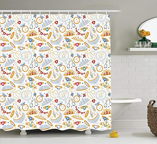 Pearls Decor Collection,Pattern with Jewelry Accessories Diamond Rings Tiara Earring Necklace Stones Image,Polyester Fabric Bathroom Shower Curtain Set with Hooks,White Yellow 5572 inches