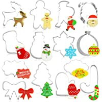 Hangnuo 14 Set Christmas Cookie Cutters Stainless Steel Plaque Fondant Molds for Christmas Party Decoration Biscuit…