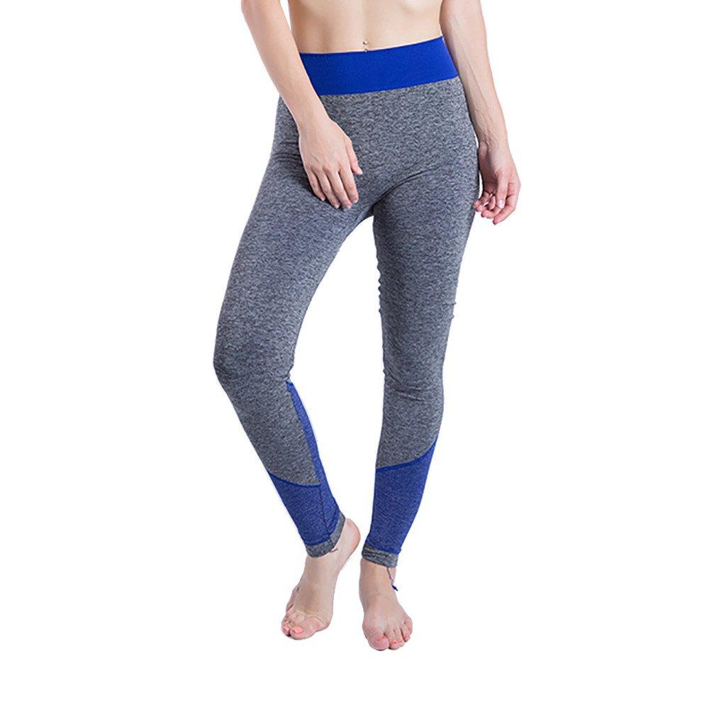 iLUGU Women Gym Yoga Patchwork Sports Running Fitness Leggings Pants Athletic Trouser(S,Blue-6)
