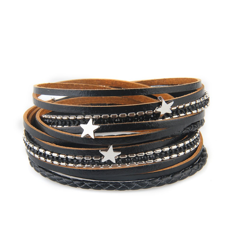 AZORA Black Multilayer Leather Wrap Bracelet Crystal Star Braided Cuff Bangle Bracelets with Magnetic Clasp Handmade Jewelry for Women Teen Girls