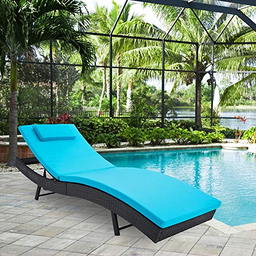 SUNCROWN Outdoor Adjustable Lounge Chair Patio Furniture Wicker Couch Bed with Blue Cushion (Outdoor Bed Lounge Cushions)