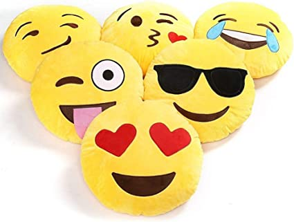 Charms Gift Basket Emoji Cushions Pillows Poo Love Heart Kiss Cool Smiley (30 x 30 cm) -Set of 10