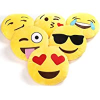 Charms Gift Basket Plush Smiley Emoji Soft Round Wink Kiss Heart Love Pillow (12x12-inches) - Set of 5