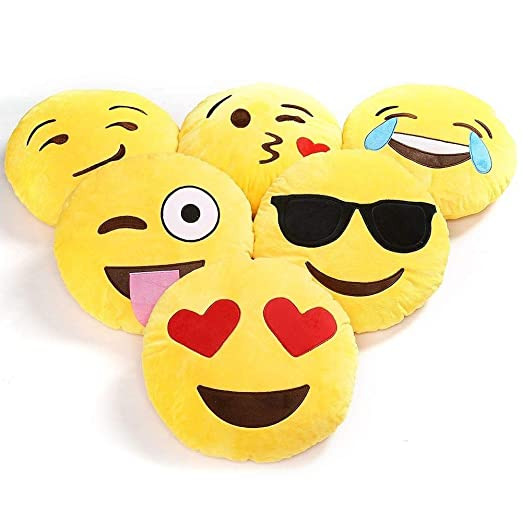 Charms Gift Basket Plush Emoji Soft Round, Wink, Kiss, Heart and Love Cushion, 12x12 inches/30x30cm - Set of 2 Plush Pillows at amazon