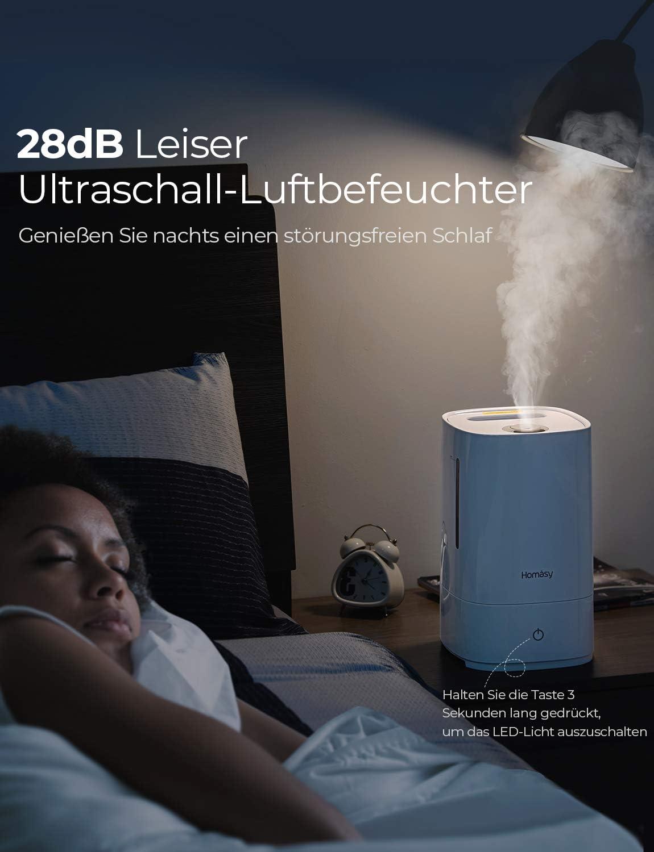 Kollea Luftbefeuchter Ultraschall Schlafzimmer mit Kleiner Fan