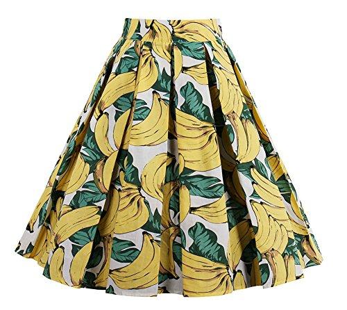 Vintage Pleated Skirt - Vivibridal Women's A-Line Vintage Pleated Floral Print Midi Skirt Banana M
