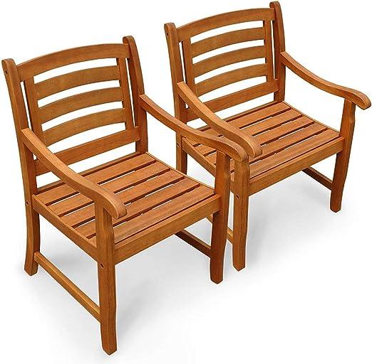 Indoba - Juego de 2 sillas de jardín Plegables Respaldo bajo de Madera, para jardín o terraza: Amazon.es: Jardín