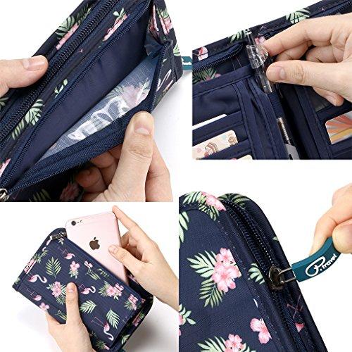 Hipiwe Multifunctional Passport Wallet Purse Hand-hold Printing Travel Passport Holder Case Money Ticket Organizer(Flamingo) by Hipiwe (Image #3)