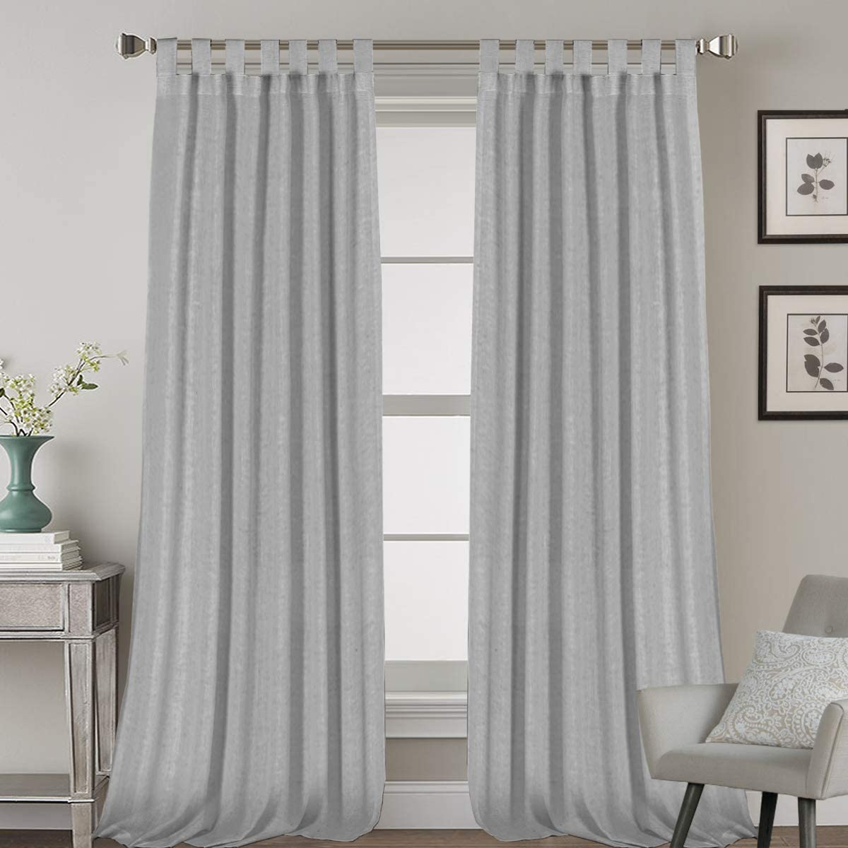 2 Pack Ultra Luxurious High Woven Linen Elegant Curtain Panels Light Reducing Privacy Panels Drapes, Tab Top Curtain Set, Extra Long 52x108-Inch, Dove