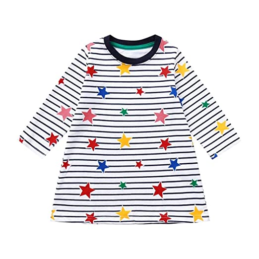 4c754ba8d Amazon.com: Kids Baby Girls Clothes Sets for 12 Months-6T,Lovely Long  Sleeve Onesies Striped Star Print Skirts Princess Dress Outfit (12-18Months,  ...