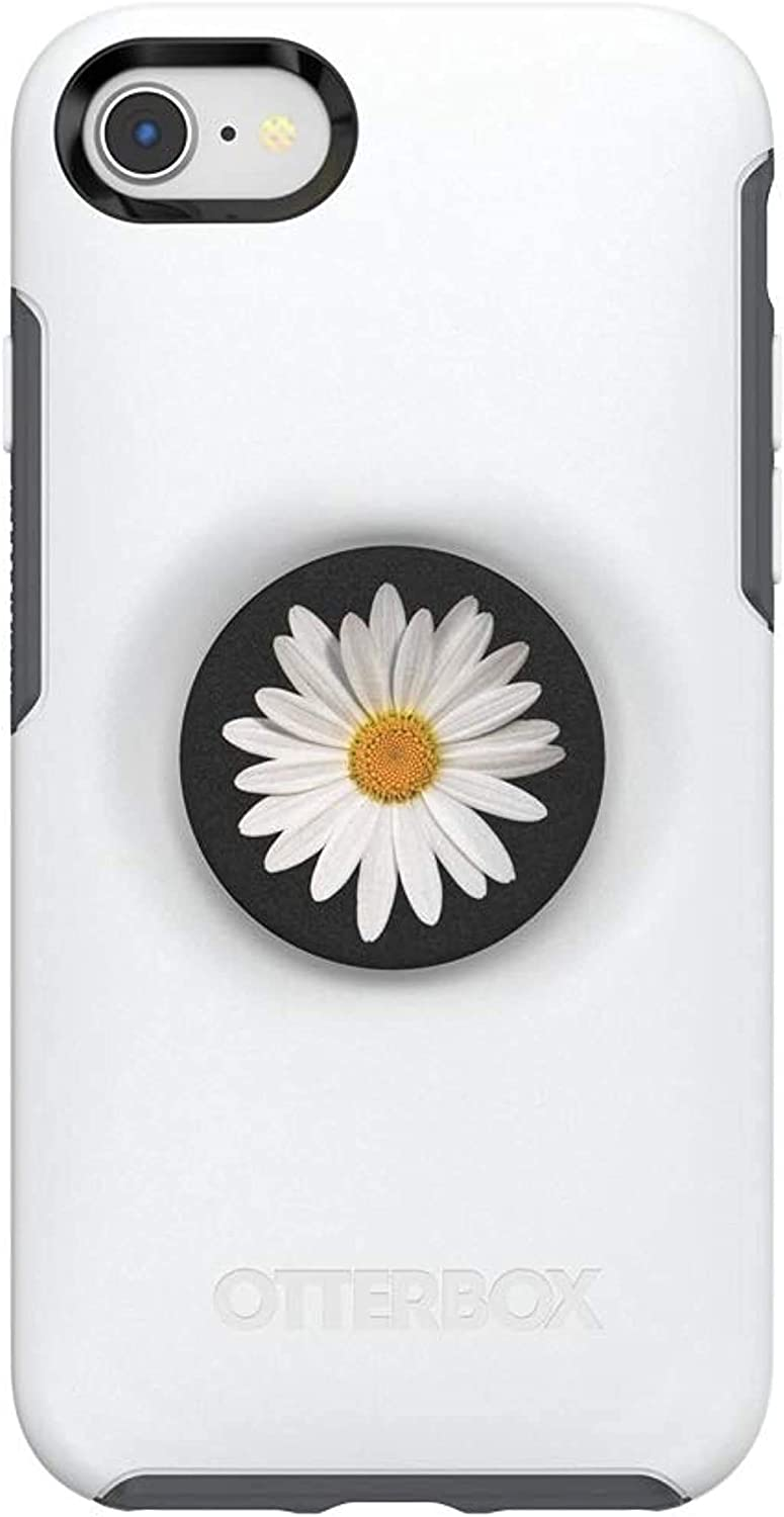 Otter + Pop for iPhone SE, 7 and 8: OtterBox Symmetry Series Case with PopSockets Swappable PopTop - Polar Vortex and White Daisy