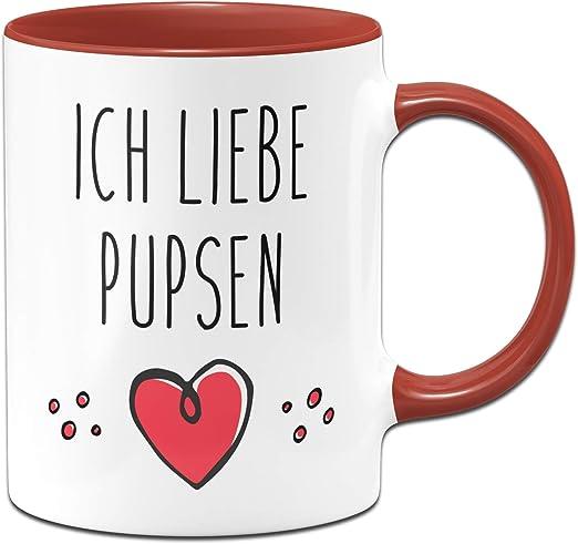 """Tasse mit Spruch /""""Ich liebe Pupsen/"""" lustig Geschenk Kaffeetasse Büro"""