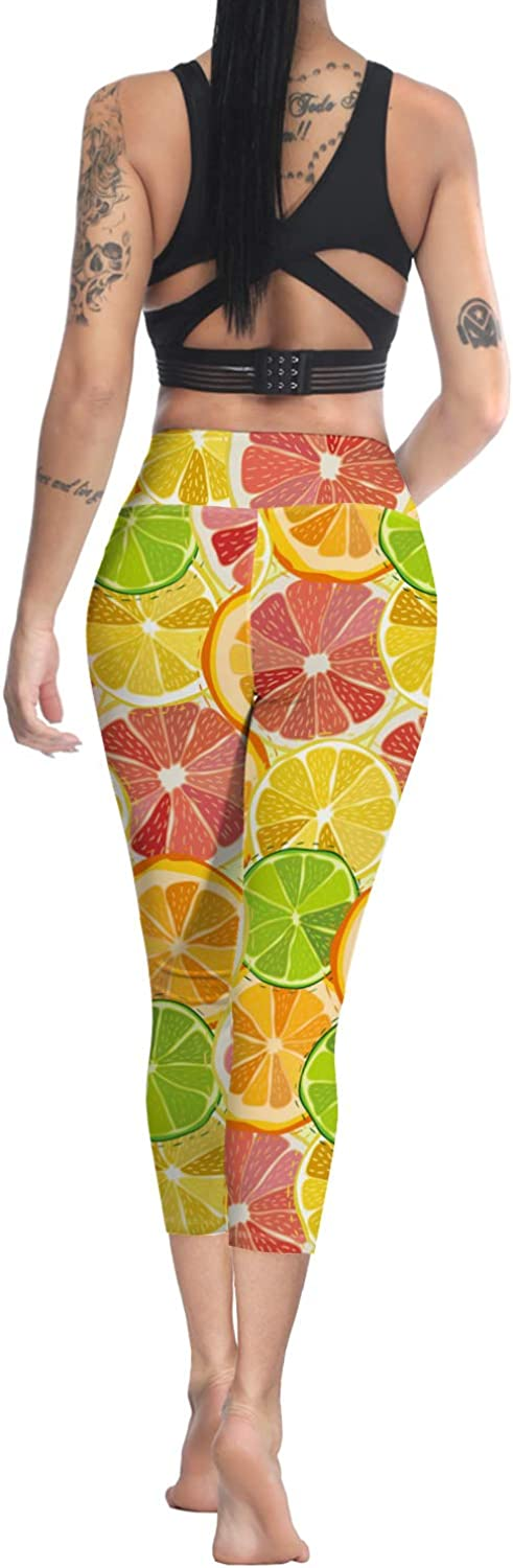 Printed Leggings for Women Red Strawberry Fruit Pattern 3//4 High Waist Yoga Pants Sport Gym Leggings Workout