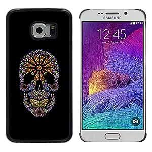 MobileHut / Samsung Galaxy S6 EDGE SM-G925 / Floral Hippie Skull Death Black Spring / Delgado Negro Plástico caso cubierta Shell Armor Funda Case Cover