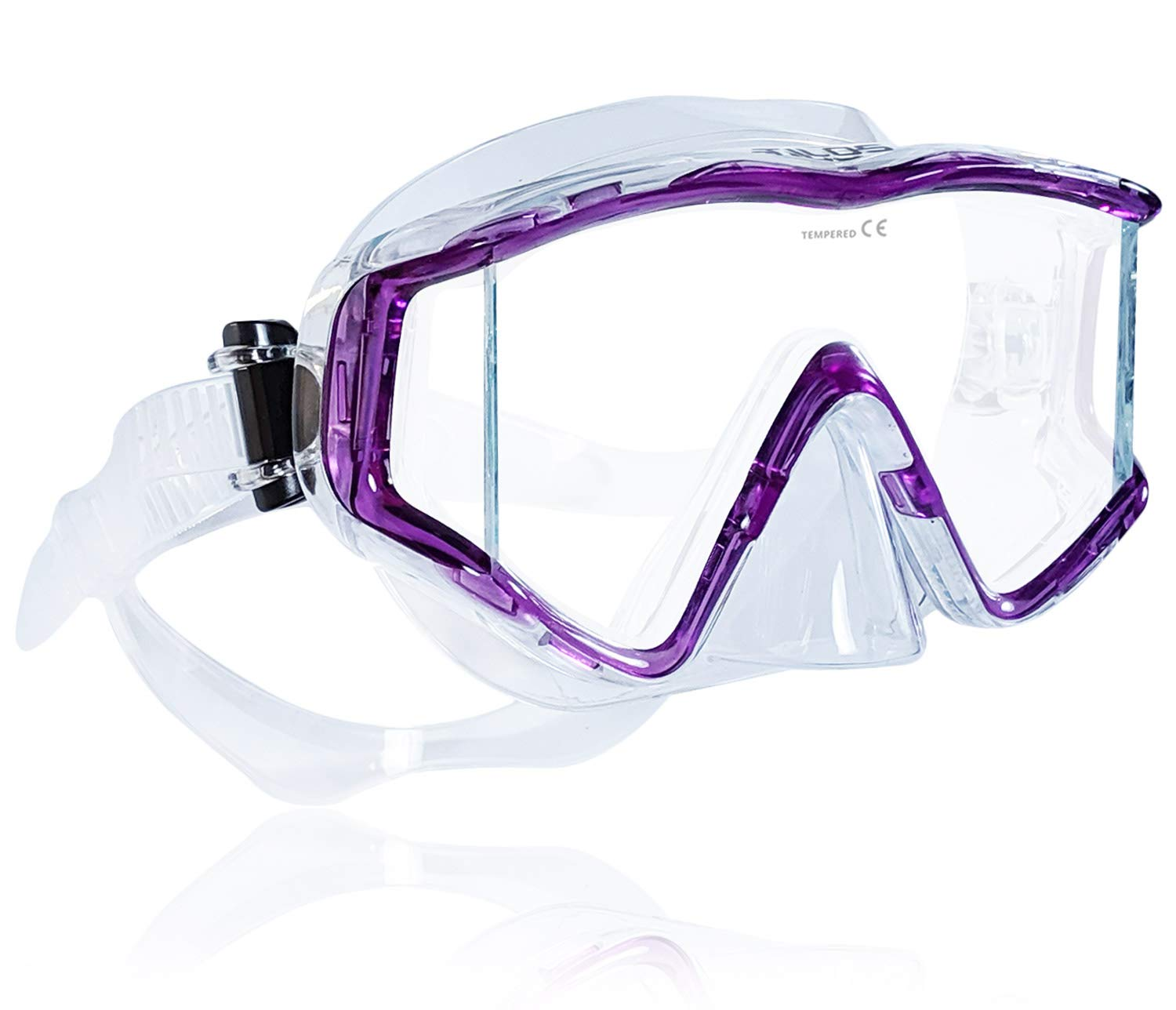 Tilos Single Lens Panoramic SG Large Wide View Mask for Scuba Diving, Snorkeling & Freediving (Purple) by Tilos