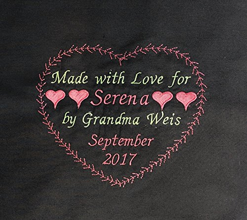 Personalized Quilt Label Sew On, Quilt Labels Personalized, 1 Large Embroidered 6 x 5 inch Fabric Label