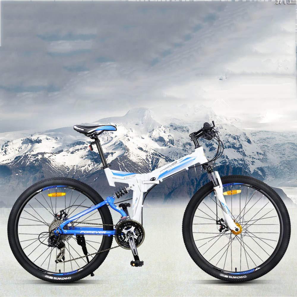 Huoduoduo Bicicleta, Bicicleta Plegable, 26 Pulgadas 27 Velocidades, Aleación De Aluminio, Freno De Disco Doble, Neumático Antideslizante, Señal De Giro De ...