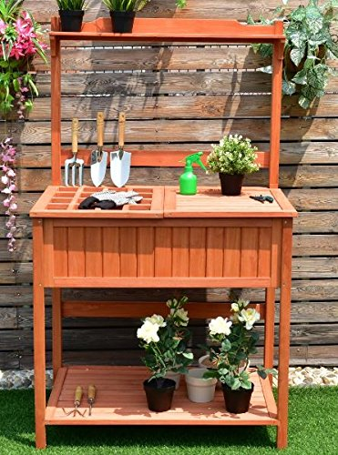 K&A Company Potting Table Bench Planting Outdoor Garden Station Work Wood Patio Storage Stand Workstation Gardening Wooden Planter Shelves Shelf Greenhouse Deck