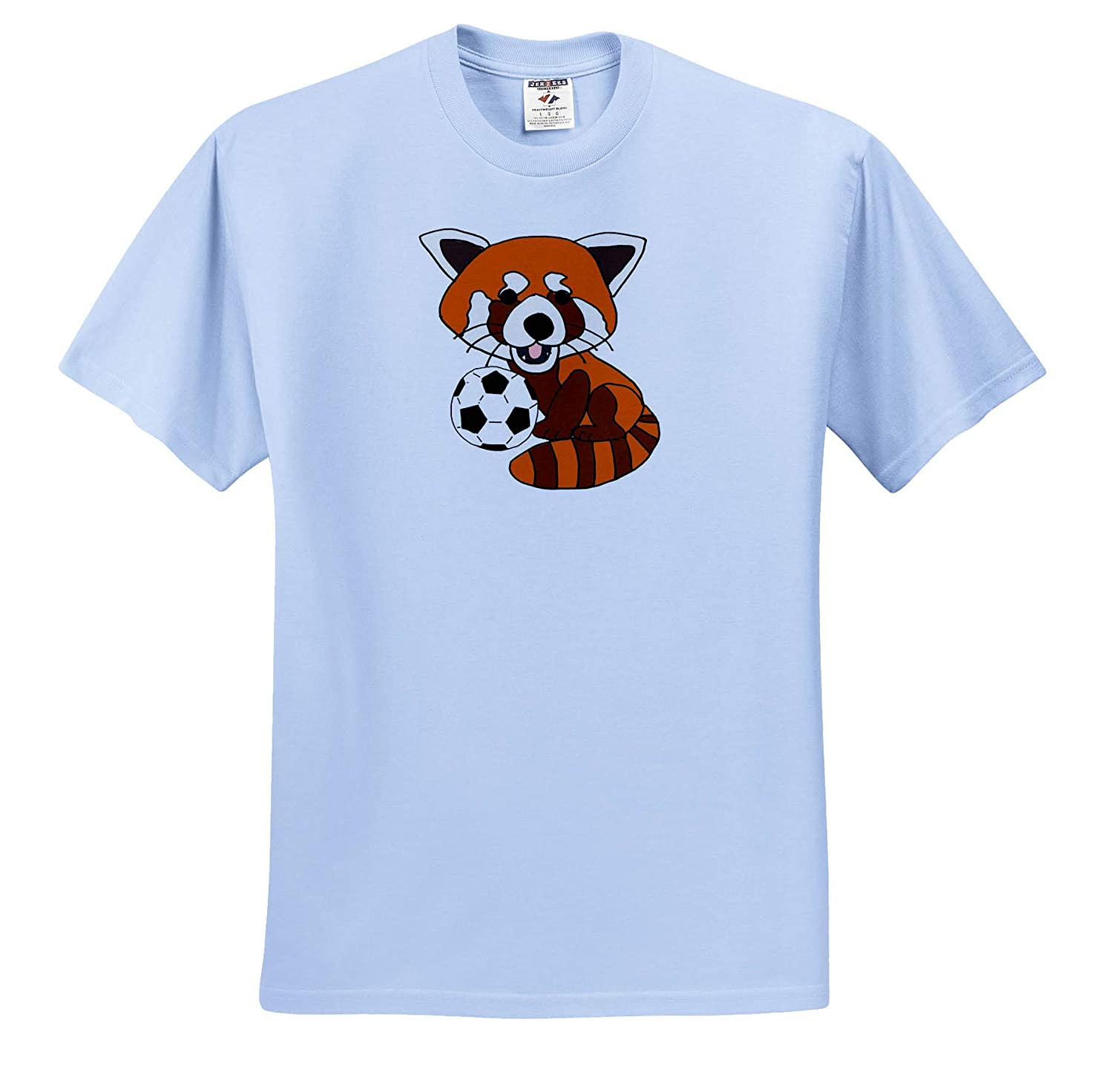 T-Shirts 3dRose All Smiles Art Cool Funny Cute Red Panda Playing Soccer Cartoon Animals