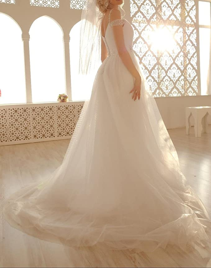 4503b9f254 TBGirl Romantic A-line Straps Beading Long Soft Tulle Beach Wedding Dresses  at Amazon Women s Clothing store