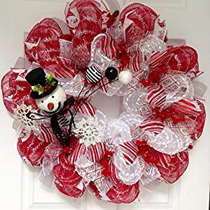 Snowman Spray with Snowflakes and Ornaments Holiday Deco Mesh Wreath 14