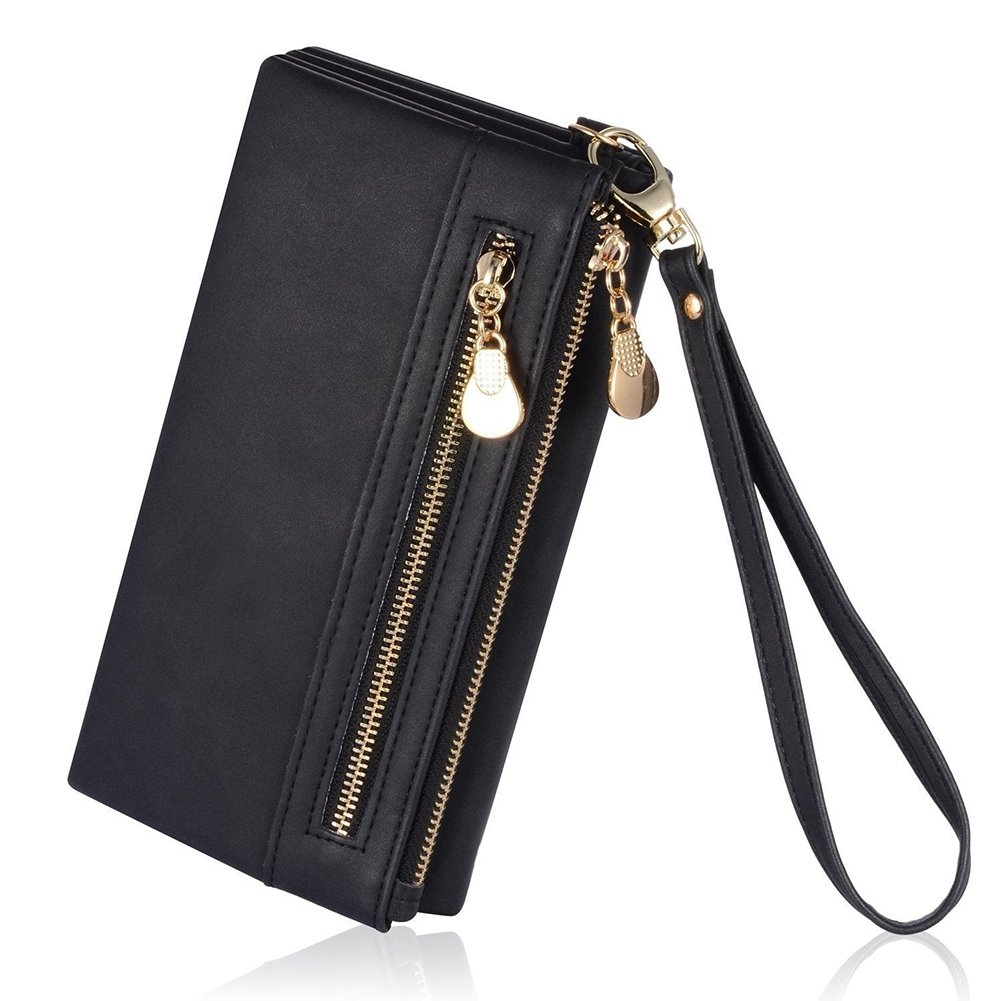 Women Leather Wallets to Organize Your Cash,Credit Card and Phone with Removable Wristlet Strap,Zipper Multi-layer Clutch Purse (Black)