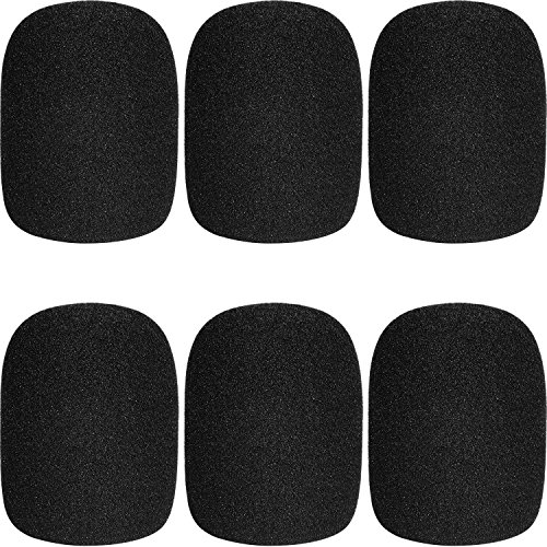 ChromLives Microphone Cover Microphone Windscreen Foam Cover Black Top Grade 6 Pack