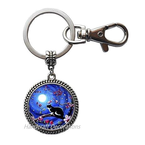 Amazon.com: Llavero con luna azul y cristales de cabujón ...