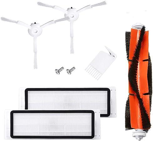 Charminer Accesorios Compatibles para la aspiradora Xiaomi Vacuum 1/2 - 6 piezas: 1 Cepillo Central + 2 Cepillos Laterales + 1 Auxiliar de Limpieza + 2 Filtros HEPA: Amazon.es: Hogar