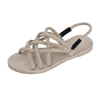 cheap for discount 92c3a 3e417 Longra Donna Scarpe da Spiaggia Corda Intrecciate Sandali di Paglia Estate  Romana