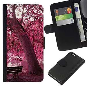 NEECELL GIFT forCITY // Billetera de cuero Caso Cubierta de protección Carcasa / Leather Wallet Case for Apple Iphone 5C // Red Forrest Park