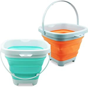 X XIN·SHI Collapsible Sand Buckets Folding Silicone Plastic Bucket Soft Waterpot Mini Square Tub Cars Mini Food Outdoor Beach Bucket Toys for Boys, Girls,Toddlers, Kids, 2L(2PCS)