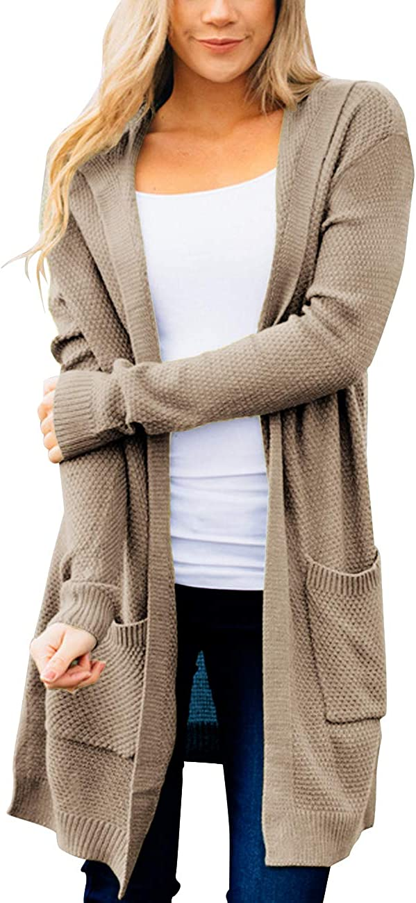 MEROKEETY Womens Long Sleeve Open Front Hoodie Knit Sweater Cardigan with Pockets