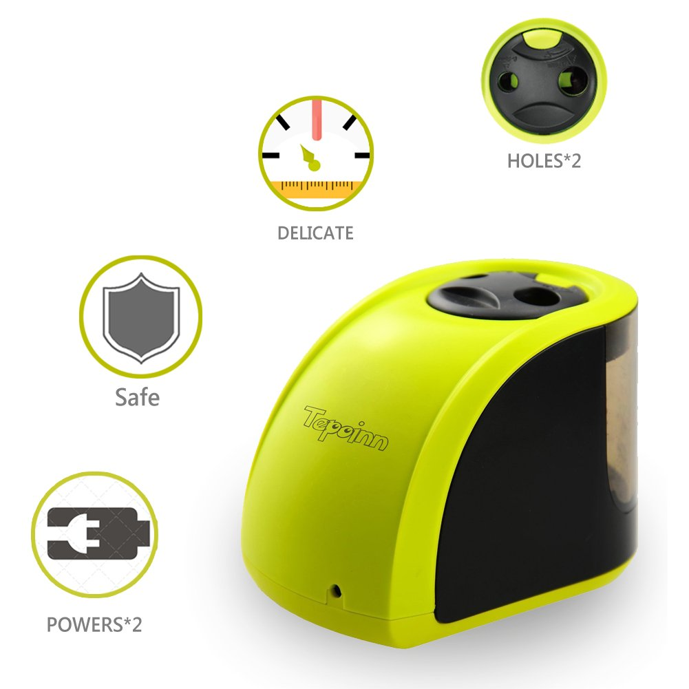 Tepoinn Electric Pencil Sharpener with 2 Holes Design for Different Size Pencils Multiple Charging Method Automatic Pencil Sharpener Perfect for Home Office School