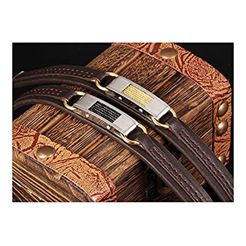 Ilove EU 2pcs acero inoxidable piel genuina pulsera brazalete Manguito Cable Metálico marrón plata negro oro Punk Rock Hombre