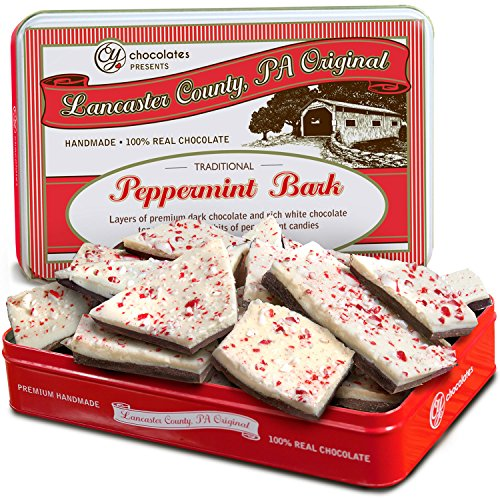 Golden State Fruit Traditional Layered Dark and White Chocolate Peppermint Bark in Christmas Gift Tin, 1 Pound