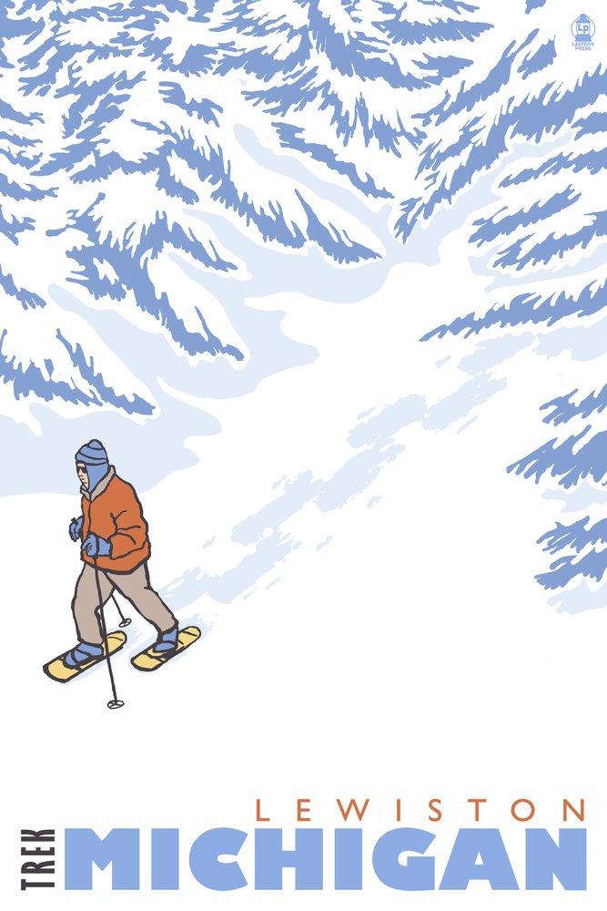 Stylized Snowshoer – Lewiston、ミシガン州 36 x 54 Giclee Print LANT-28820-36x54 B01M5EQURT  36 x 54 Giclee Print